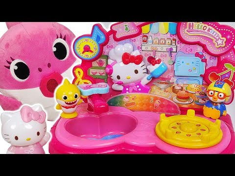 Let's cook delicious food for Baby Shark, Titipo~ Hello Kitty cooking toy! #PinkyPopTOY