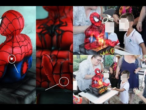 Spiderman Bust Cake with Cobweb