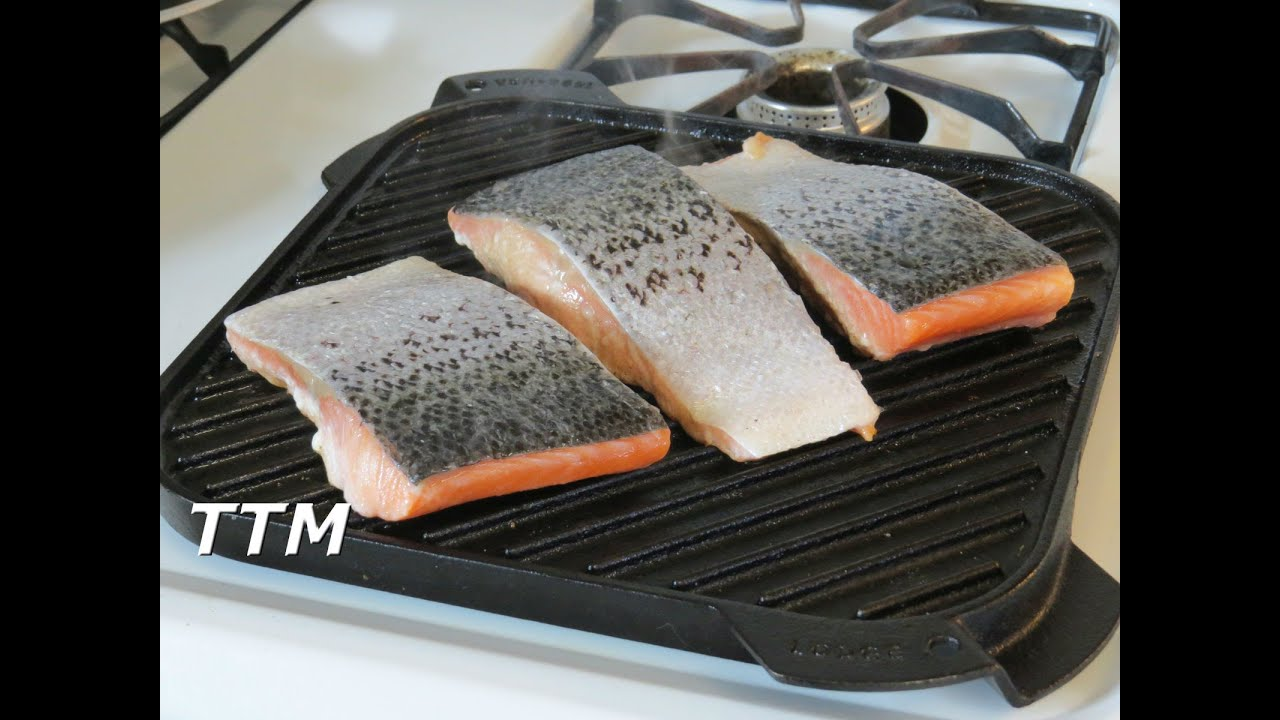 How To Cook Salmon On A Stove Top Cast Iron Grill~easy Cooking  Youtube