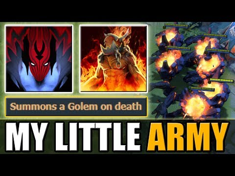Vengeance Aura double life with 7 Warlock Golems [Little Army] Dota 2 Ability Draft
