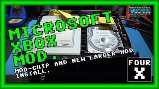 Microsoft Xbox - Mod-Chip (Aladdin XT Plus2) and New Larger HDD Install.