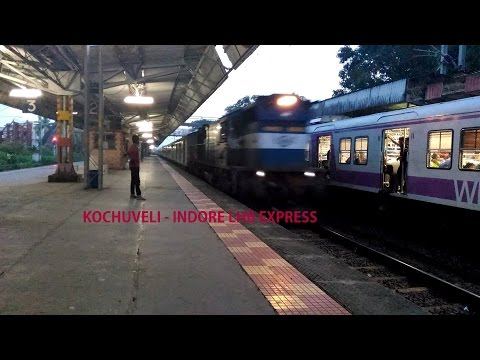 Kochuveli - Indore Express with shiny LHB coaches overtakes Bombardier EMU!!