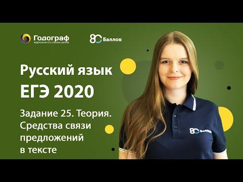 ЕГЭ по Русскому языку 2020. Задание 25. Теория. Средства связи предложений в тексте