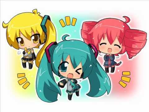 Vocaloid-Triple Baka (Miku, Teto, Neru) (English.Sub) Full version + MP3
