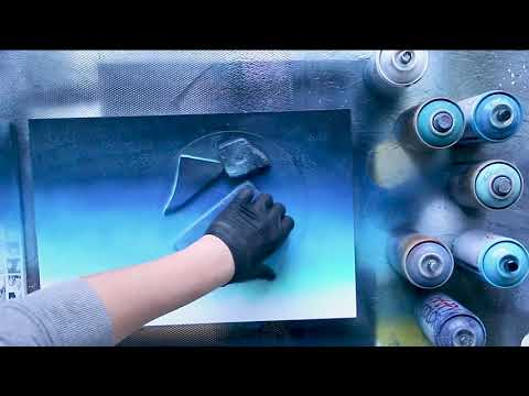 Hidden Moon - SPRAY PAINT ART TUTORIAL - by Skech