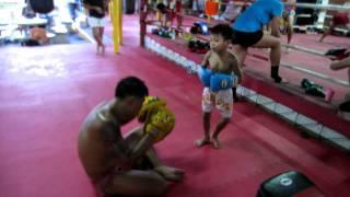 5 Year Old Muay Thai Kid Hitting Pads - Santai Muay Thai Gym