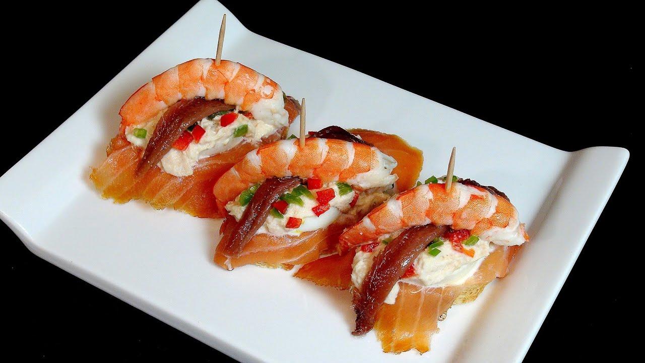 tapas y pinchos con salmon ahumado