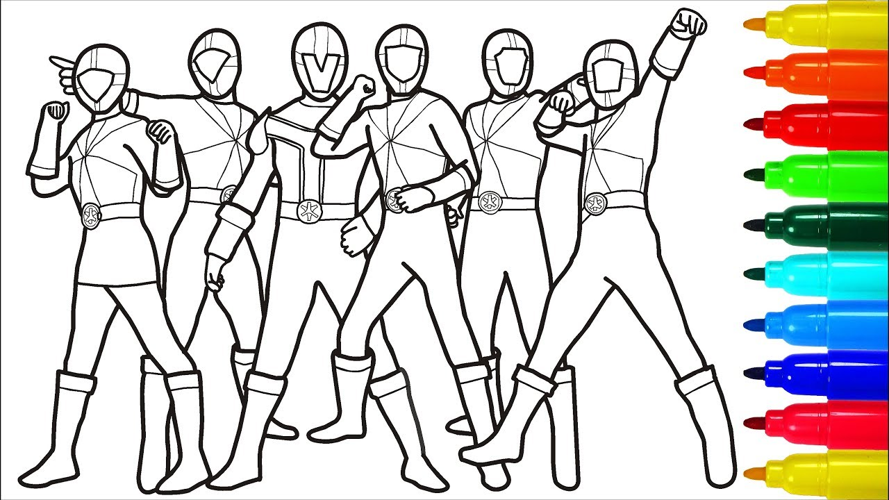 Power Rangers Samurai Wild Force Coloring Pages Colouring Pages For Kids With Colored Markers Youtube