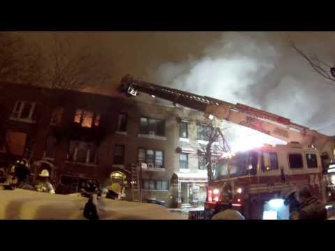 FDNY HD - Bronx 3 Alarm Fire During Blizzard W/ Fireground Audio & Collapse