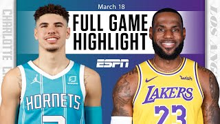 Watch the highlights as lamelo ball and charlotte hornets go on road to take lebron james los angeles lakers.