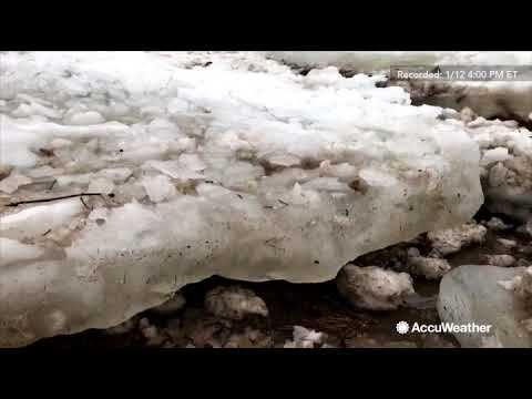 Huge ice chunks overwhelm Allegheny River, causes severe floods and damage in Pennsylvania