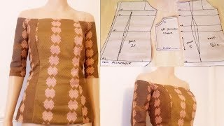 How to make Off Shoulder blouse [Fitted and Padded Off shoulder blouse|Off shoulder Top]