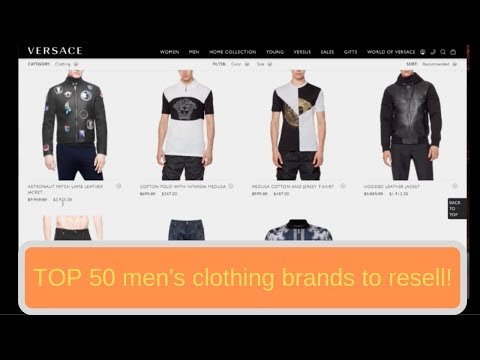 Top 50 Mens Clothing brands to sell on Ebay for Profit
