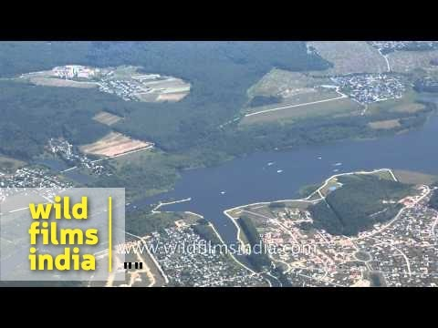 Farmland, fields and forests outside Moscow city : aerial footage