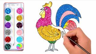 how to draw a rooster - color drawing - how to draw cock  easy hen drawing  colour pencil drawing