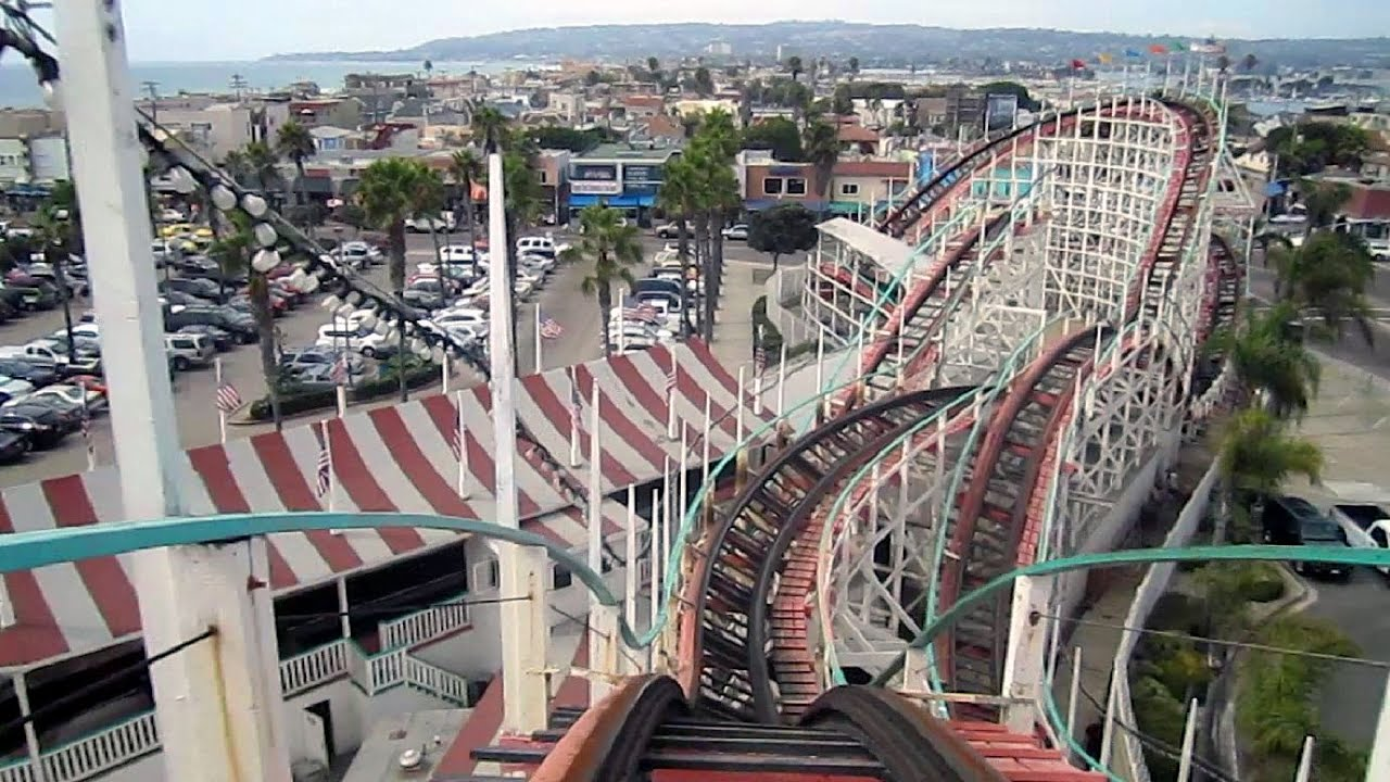 Earthquake San Diego >> Giant Dipper front seat on-ride HD POV Belmont Park - YouTube