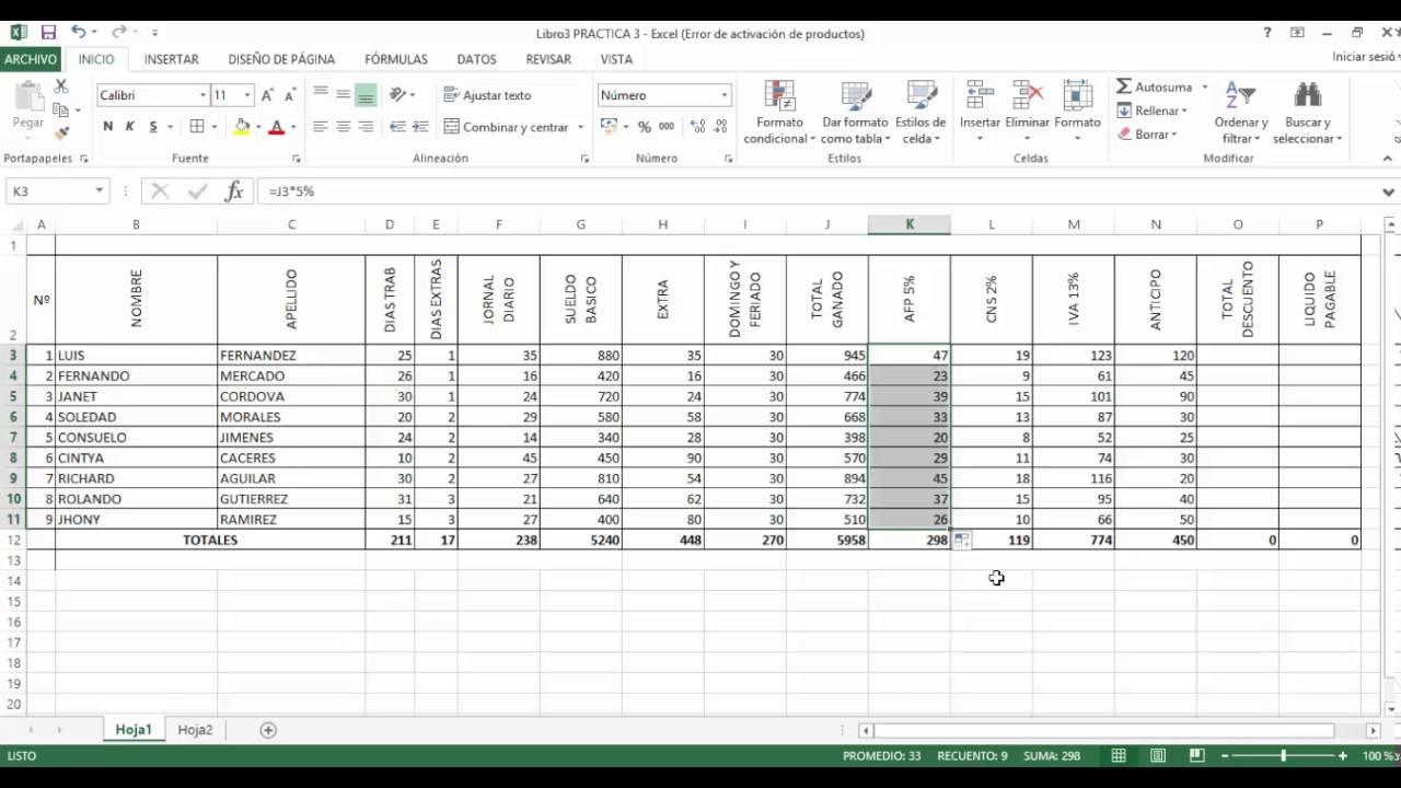 Planilla De Sueldos En Excel Youtube