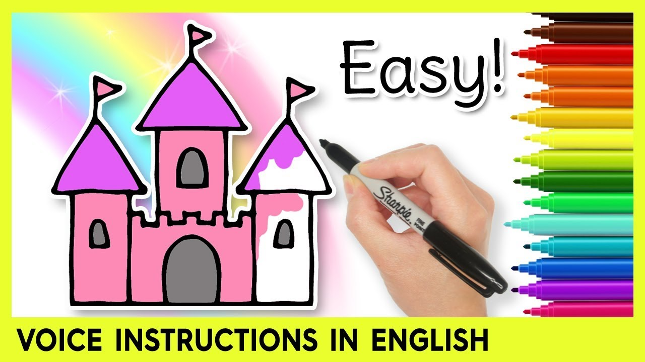 How To Draw A Castle Easy Drawings For Kids Youtube