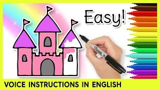 How to Draw a CASTLE! Easy Drawings for Kids