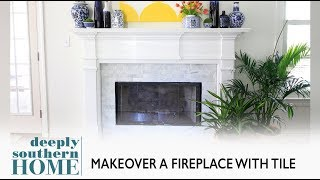 How to Tile a Fireplace, Full tutorial of a Fireplace Makeover