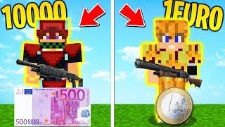 EQUIPAGGIAMENTO 10000€ CONTRO 1€ - FUCILI A POMPA DEL FUTURO - Minecraft ITA