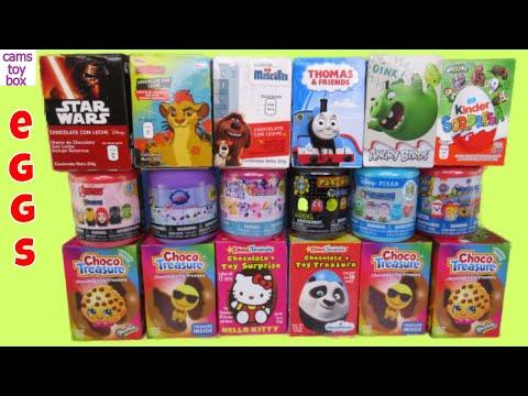 Chocolate Surprise Eggs Toys Hello Kitty Kinder Shopkins Pacman Paw Patrol Thomas MLP Fashems - 동영상