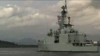HMCS Athabaskan (DDG 282) passing Greenock