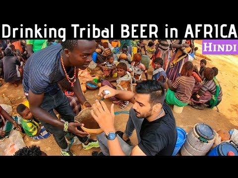 AFRICAN TRIBAL MARKET   Beer & Food Market   Part 2   Indian in Ethiopia   Hindi   Omo Valley