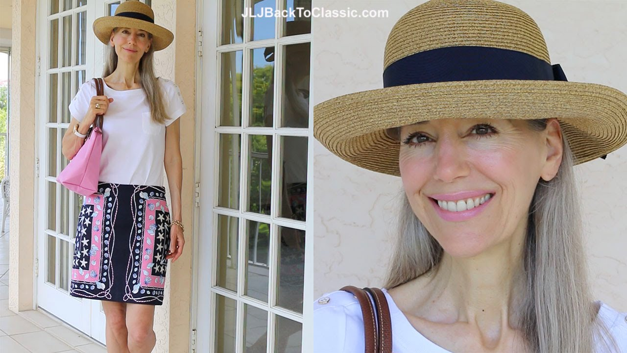 Classic Fashion Style Over 40 Over 50 Pink Navy Summer Hat Outfit Talbots Longchamp