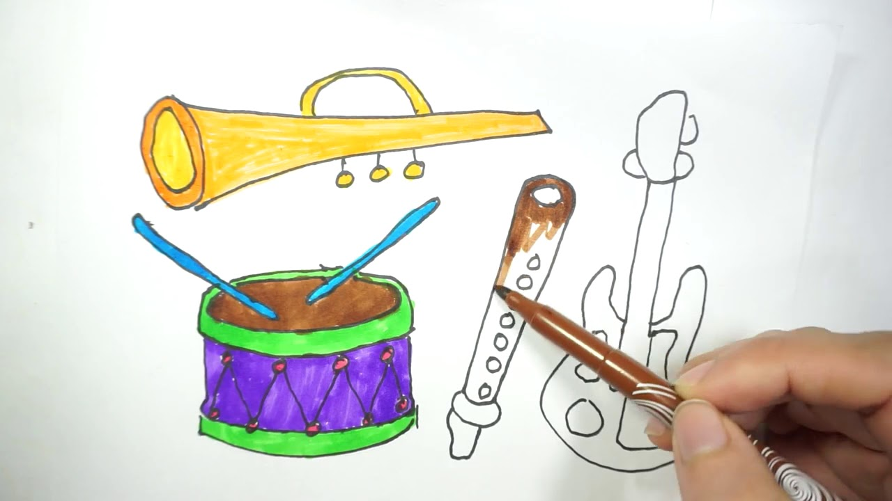 how to draw musical instrument |musical instruments step by step