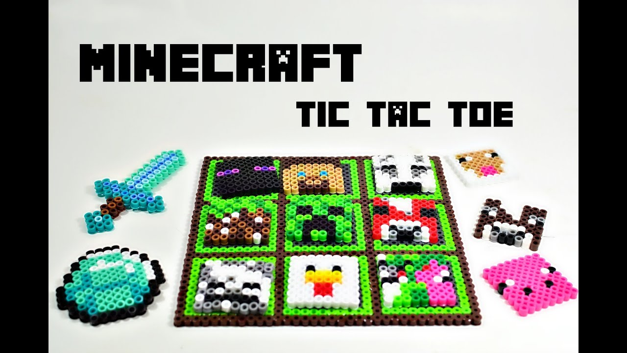 Minecraft Tic Tac Toe Addendum Perler Fuse Hama Beads Fan Art + Template!