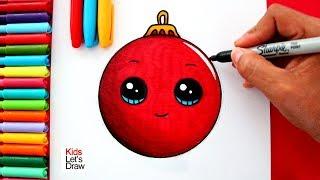 Aprende a dibujar una BOLA DE NAVIDAD Kawaii fácil | How to draw a Cute Christmas Ornament