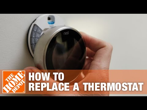 hqdefault how to replace an old thermostat the home depot youtube 1f56n-444 wiring diagram at bayanpartner.co