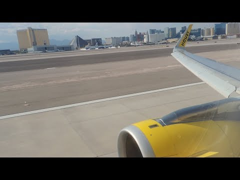 Spirit Airlines Airbus A320-232 [N641NK] pushback, taxi, and takeoff along the strip from LAS