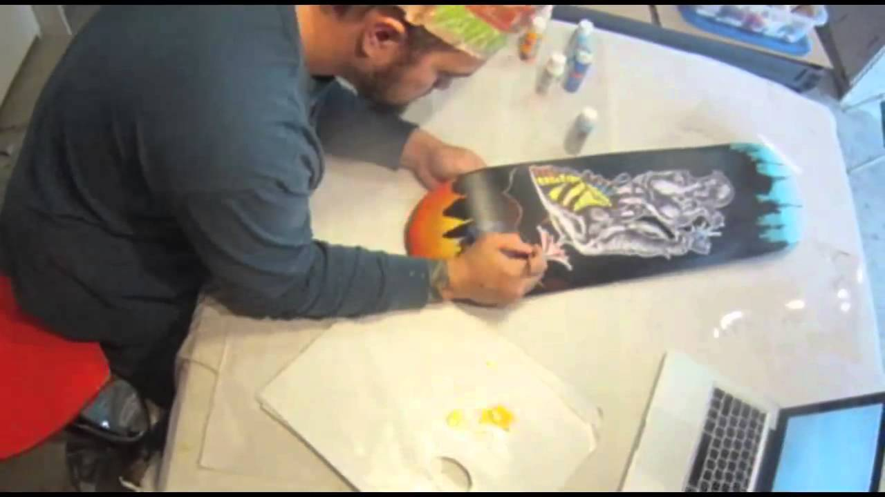 Spray Paint Skateboard Deck