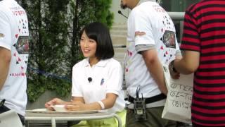 テレビ朝日夏祭りで開放されたテラスにて 竹内アナがリポートのリハーサ...