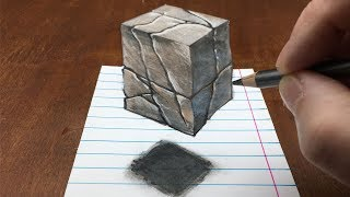 How to Draw Floating Stone Cube - Drawing 3D Cube Illusion - By Vamos