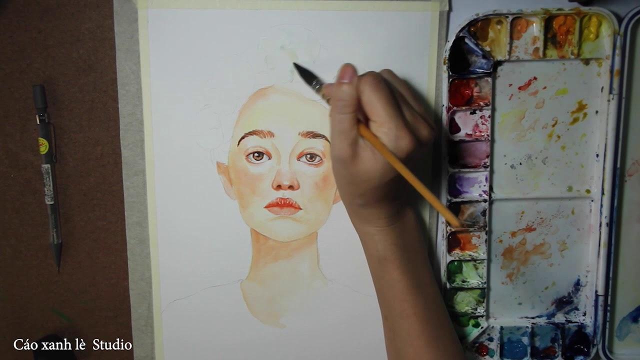 VẼ CHÂN DUNG MÀU NƯỚC ( Watercolor painting for beginners – Portrait )