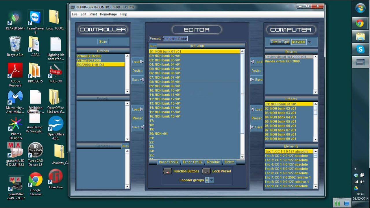 Behringer BCF2000 fader controler Uploading sysex sysx file - not via  B-control editor ( bcedit )