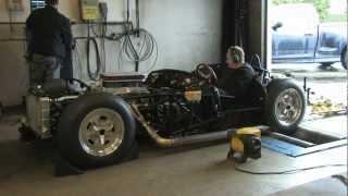 Scarab race car dyno run  377 cubic inch SBC