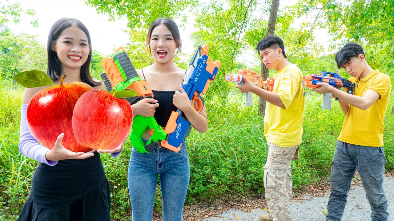 SalesGirl Nerf Guns Fight Criminal Robber Apple Battle | Superheroes SWAT