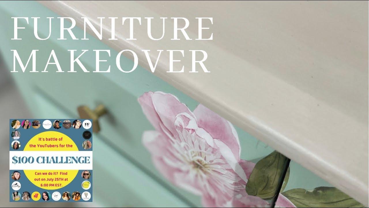 Furniture Makeover | Trash to Treasure Furniture Flip | The $100 Challenge | Youtube Collaboration