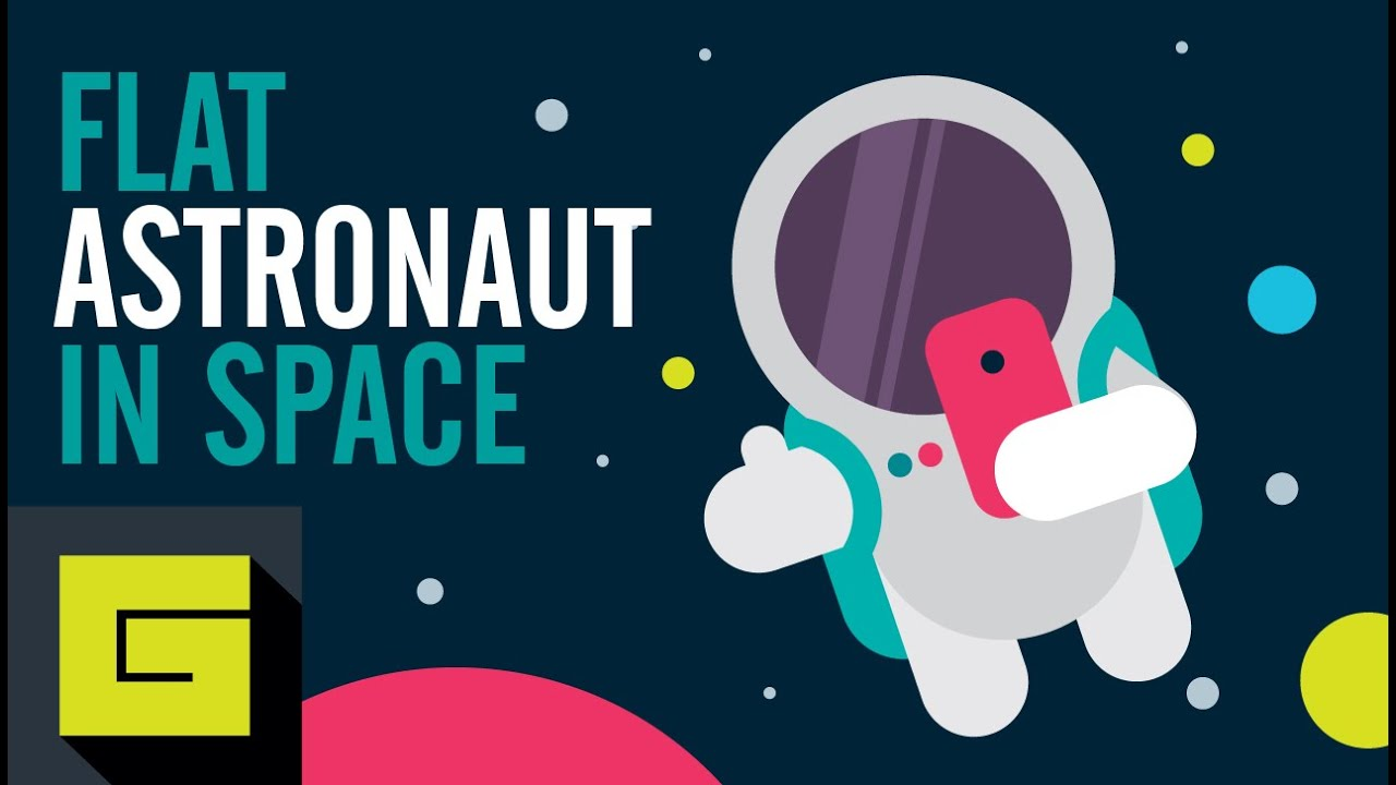 Flat astronaut in space vector drawing process gigantic for Design a space online