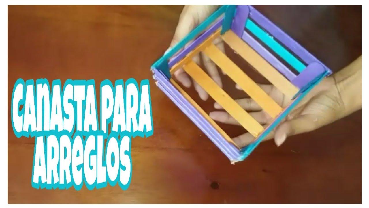 Como hacer una canasta o cajita con palitos de madera? Soy Rosa  Manualidades❤🌺 - YouTube