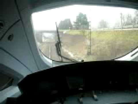 View from the front cab of a German ICE high speed train