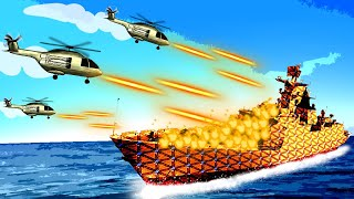 Epic Helicopter Attack to Burn Down an Entire Navy Battleship in Forts!