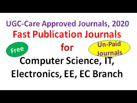 Fast Publication UGC Approved Journals | Computer Science Journals |#UGC Care Journals 2020 | Hindi
