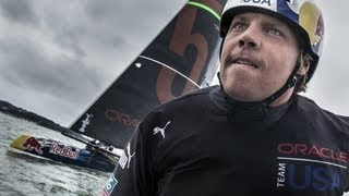 travis rice and jamie o brien race 45 foot america s cup catamarans
