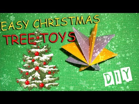 DIY How to Make Easy Christmas Tree Toys Out Of Paper. No Glue Origami Paper Decoriation