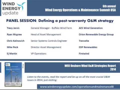 Wind Energy Update PANEL SESSION Defining a post warranty O&M strategy